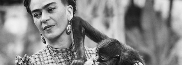 Frida Kahlo Holding Her Pet Monkey